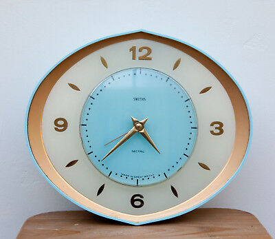 Smiths mid-century retro vintage 50s/60s sectric atomic eye clock in blue+gold