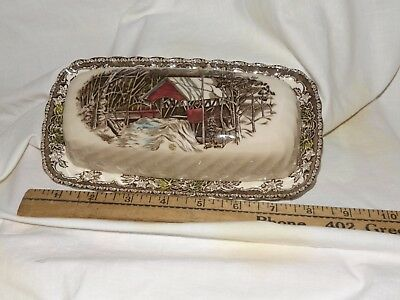 Johnson Brothers Friendly Village The Covered Bridge Butter Dish #2