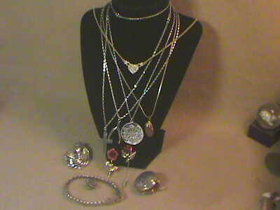 Lot Of 11 Vintage Rhinestone Jewelry Pieces Mixed Assortment junk drawer