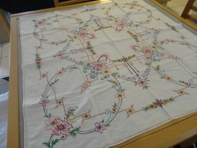 vintage supper tablecloth lots of embroidery 83 cms by 83cms