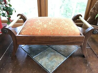 Vintage Foot Stool Bench Moroccan  Upholstery Wood & Brass Artist Signed 1970