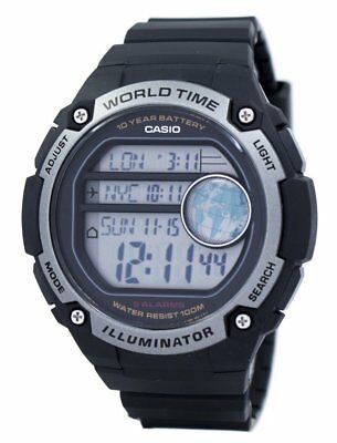 Casio Men's Quartz World Time Alarm Black Resin Band 55Mm Watch Ae3000w-1Av
