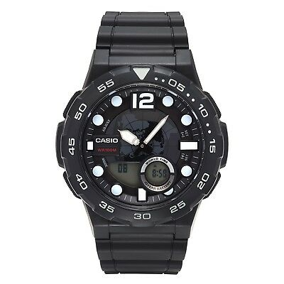 Casio Men's Quartz Diver Analog-Digital Black Resin Strap 52Mm Watch Aeq100w-1A