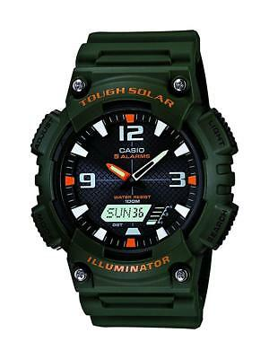 Casio Men's Solar Analog-Digital Date Green Resin Band 47Mm Watch Aqs810w-3Av