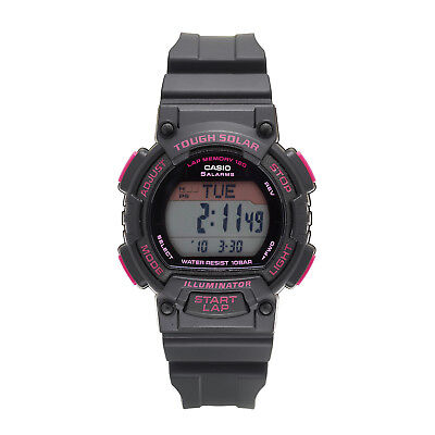 Casio Ladies' Tough Solar Runners Pink Accent Black Resin 36mm Watch STLS300H-1C