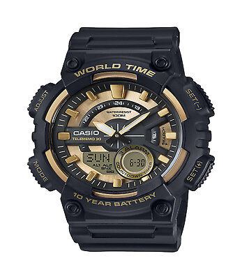 Casio Men's Quartz World Time Gold & Black Resin 50Mm Watch Aeq110bw-9Av