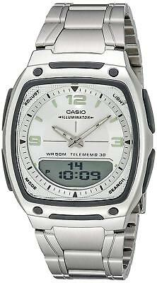Casio Men's Quartz Telememo Ana-Digi Silver-Tone Bracelet 39Mm Watch Aw81d-7Av