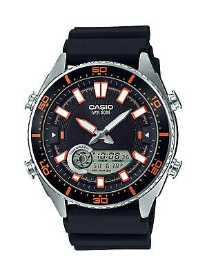Casio Men's Quartz Analog-Digital Black Resin Band 44Mm Watch AMW720-1AV