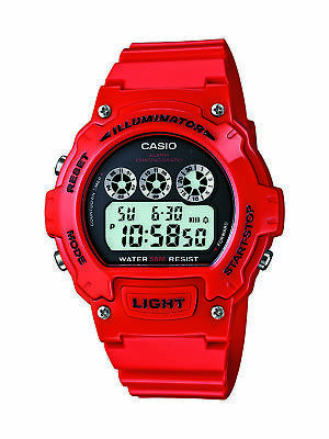 Casio Mens Quartz Illuminator Black Digital Dial Red Resin 45mm Watch W214HC-4AV