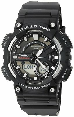 Casio Men's Quartz World Time 10 Yr Battery Black Resin 47Mm Watch Aeq110w-1A