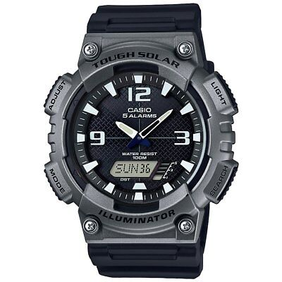 Casio Men's Tough Solar 5 Alarms Gray Case Black Resin 47mm Watch AQS810W-1A4V