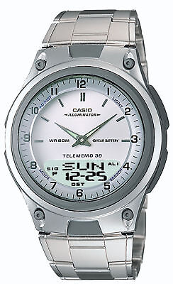 Casio Men's Quartz World Time Ana-Digi Silver-Tone Bracelet 40Mm Watch Aw80d-7Av
