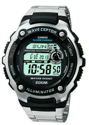 Casio Wave Ceptor Men's Quartz Atomic Timer Silver-Tone 47.5mm Watch WV200DA-1A