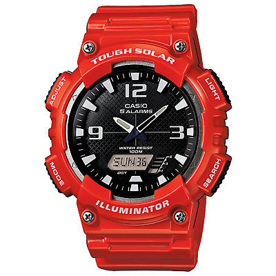 Casio Men's Solar Ana-Digi Black Dial Red Resin Band 47Mm Watch Aqs810wc-4Av