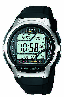 Casio Wave Ceptor Men's Quartz World Time Black Resin 42Mm Watch Wv58a-1Av
