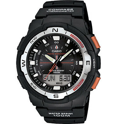 Casio Men's Ana-Digi Black Resin Multifunction 46.5Mm Watch Sgw500h-1Bv