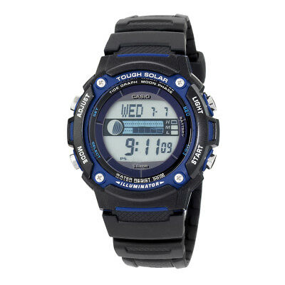 Casio Men's Solar Tide Tracker Blue Accent Black Resin 44Mm Watch Ws210h-1Av