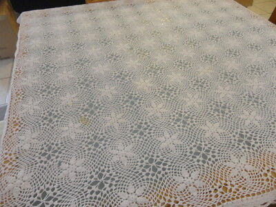 vintage white crochet supper table cloth  83 by 83 crochet daisy's