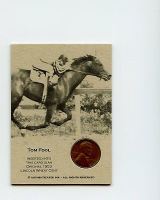 #0001316 TOM FOOL 1953 Rare Horse Racing Coin Penny Insert Card