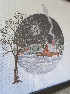 Christmas town completed cross stitch snow house