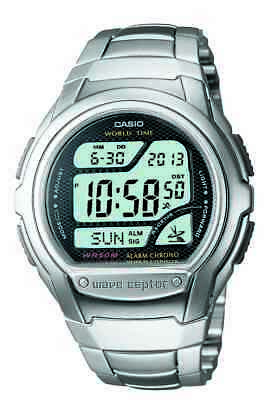 Casio Wave Ceptor Men's Quartz World Time Silver-Tone 42mm Watch WV58DA-1AV
