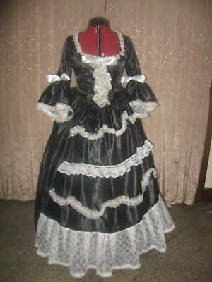 18TH CENTURY COLONIAL BLACK TAFFETA GOTHIC PIRATE  MARIE ANTOINETTE Size 12-14