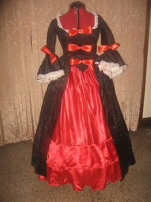 18TH CENTURY COLONIAL BLACK VELVET GOTHIC PIRATE  MARIE ANTOINETTE Size 12-14