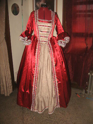 18Th Century Colonial Mulberry Satin Dress Pirate Marie Antoinette  12-14