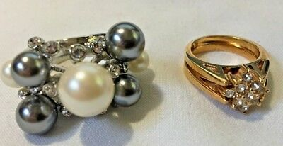 2 Vintage & Estate Cocktail Rhinestone Flip Gold Silver Pearl Ring Ruby Gray Set