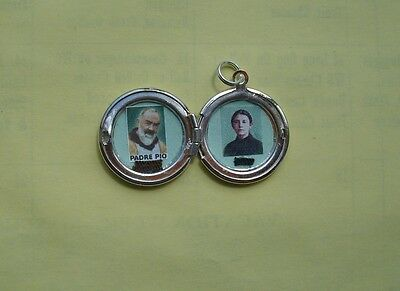 St Padre Pio/St Gemma Galgani combination relic locket in excellent condition