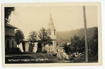 RPPC Methodist Church IRVINE PA Warren County Pennsylvania Real Photo Postcard