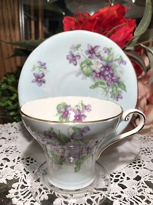 Aynsley Teacup And Saucer Blue With Purple Flowers