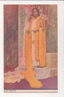 Vintage Honolulu Aloha Week Lei Queen Beauty Floor-Length Leis Hawaii Post Card