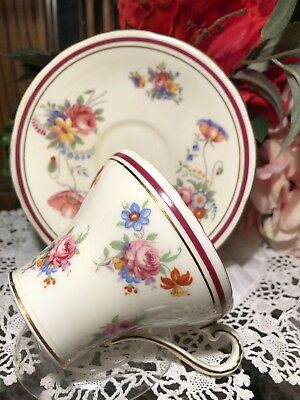 Aunsley Teacup And Saucer Colorful Flowers