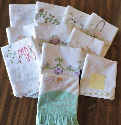 Vintage Pillowcases. Lot Of Eleven.  Single Pillowcases, Embroidery & Crochet.
