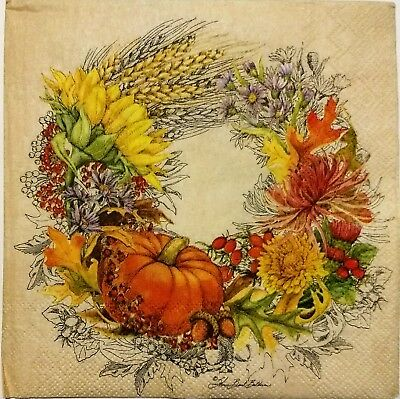 Harvest Fall Farmers Market 2 Single Hostess Paper Napkins For Decoupage 3-ply Other Home Arts & Crafts