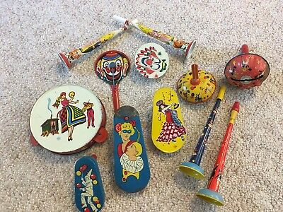 vintage lot of tin holiday noise makers