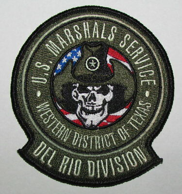 Texas State Del Rio USMS Marshals Service Federal Police Patch Skull Cowboy Hat