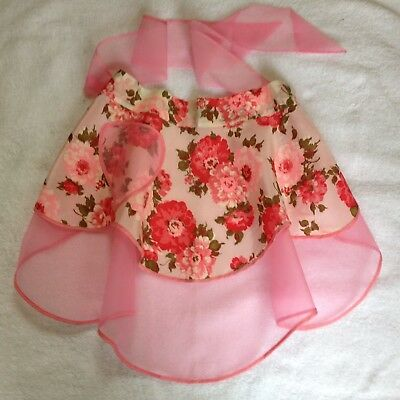 Double layer unused vintage apron, flowers over chiffon w/ pocket