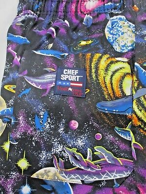 Vintage CHEFWARE BAGGY Cotton Chef Pants SIZE LARGE Sharks Dolphins Planets NEW