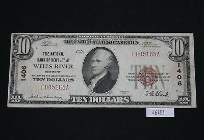 WPC ~ The National Bank of Newburg At Wells River Vermont #1406 $10 1929
