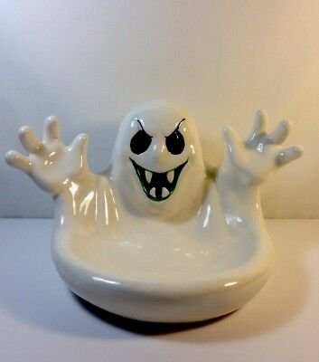 VINTAGE 1990 Ceramic Halloween Light Up Ghost Candy Dish Bowl