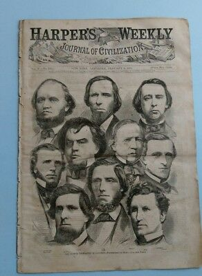 Harper's Weekly 1/5/1861 2 Winslow Homer Prints Cover and 2 pg New Year's print