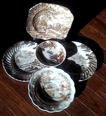 Set Ridgway Staffordshire & Johnsons Brothers Cotswold England plates Engraved