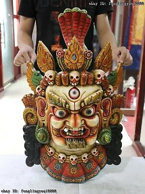 30 Tibet Old Wood Hand Carved Color Painted Yamantaka Mahakala Buddha Head Mask