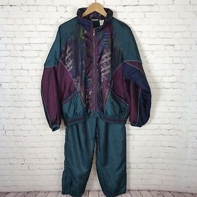 Vintage 90s Tracksuit Womens Ladies Large Windbreaker Green Multicolored