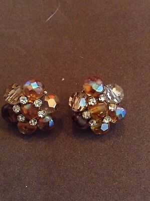 Vintage Vogue Clip On Earrings Amber Gl Iridescent Costume Fashion Jewelry