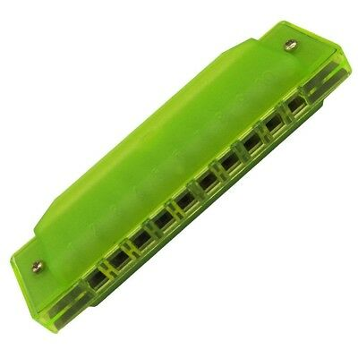 (Green) - Fiouni 10 Hole Harmonica Key of C Diatonic Harmonica Mouth Organ