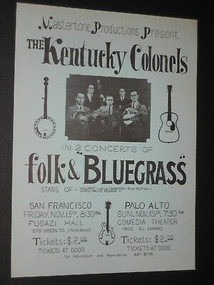 1964 Jerry Garcia Kentucky Colonels Poster Clarence White of Byrds fillmore era