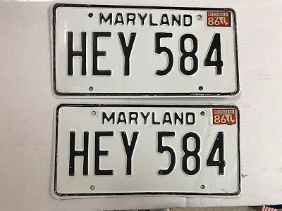 Vintage Matched Pair of Maryland MD Metal License Plates w/1986 sticker